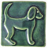 "Dog 1 (facing Right) 4""x4"" Ceramic Handmade Tile - Leaf Green Glaze"