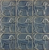 "Dog 1 (facing Right) 4""x4"" Ceramic Handmade Tile - Watercolor Blue Glaze Grouping"