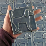 "Dog 1 (facing Right) 4""x4"" Ceramic Handmade Tile - Size Reference"