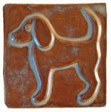 "Dog 2 (facing Left) 4""x4"" Ceramic Handmade Tile - Autumn Glaze"