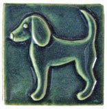 "Dog 2 (facing Left) 4""x4"" Ceramic Handmade Tile - Leaf Green Glaze"