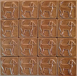 "Dog Facing right 3""x3"" Ceramic Handmade Tile - honey glaze grouping"