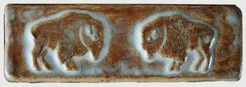 "Double Buffalo 2""x6"" handmade tile - Autumn Glaze"