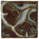 "Double Ginkgo 2""x2"" Ceramic Handmade Tile - Autumn Glaze"