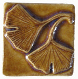 "Double Ginkgo 2""x2"" Ceramic Handmade Tile - Honey Glaze"