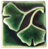 "Double Ginkgo 2""x2"" Ceramic Handmade Tile - Leaf Green Glaze"