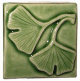 "Double Ginkgo 2""x2"" Ceramic Handmade Tile - Spearmint Glaze"