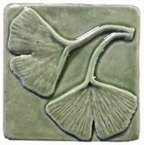 "Double Ginkgo Leaf 4""x4"" Ceramic Handmade Tile - Spearmint Glaze"