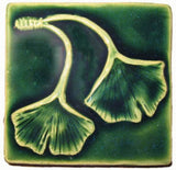"Double Ginkgo Leaf 3""x3"" Ceramic Handmade Tile - Leaf Green Glaze"
