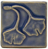 "Double Ginkgo Leaf 3""x3"" Ceramic Handmade Tile - Watercolor Blue"
