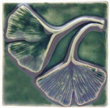 "Double Ginkgo Leaf 4""x4"" Ceramic Handmade Tile - Leaf Green Glaze"