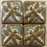 "Dragonfly 2""x2"" Ceramic Handmade Tile - Autumn Glaze Grouping"