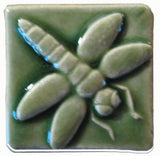 "Dragonfly 2""x2"" Ceramic Handmade Tile - Spearmint Glaze"