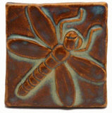 "Dragonfly 3""x3"" Ceramic Handmade Tile - Autumn Glaze"