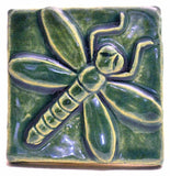 "Dragonfly 3""x3"" Ceramic Handmade Tile - Leaf Green Glaze"