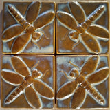 "Dragonfly 4""x4"" Ceramic Handmade Tile - Autumn Glaze Grouping"