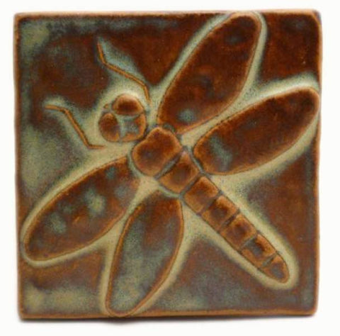 "Dragonfly 4""x4"" Ceramic Handmade Tile - Autumn Glaze"