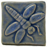 "Dragonfly 2""x2"" Ceramic Handmade Tile - Watercolor Blue Glaze"
