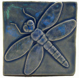 "Dragonfly 4""x4"" Ceramic Handmade Tile - Watercolor Blue Glaze"