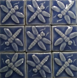 "Dragonfly 2""x2"" Ceramic Handmade Tiles - Watercolor Blue Glaze Grouping"