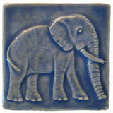 Elephant 4x4 - Watercolor Blue Glaze