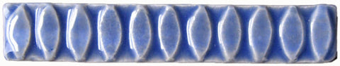 "Ellipse 1""x6"" Border Ceramic Handmade Tile - Watercolor Blue Glaze"