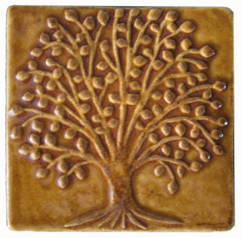 "Elm Tree 4""x4"" Ceramic Handmade Tile - Honey Glaze"