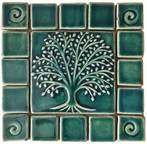 "Elm Tree Ceramic Handmade Tile With 2"" Border -Leaf Green Glaze"