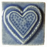 "Fancy Heart 2""x2"" Ceramic Handmade Tile - Watercolor Blue Glaze"
