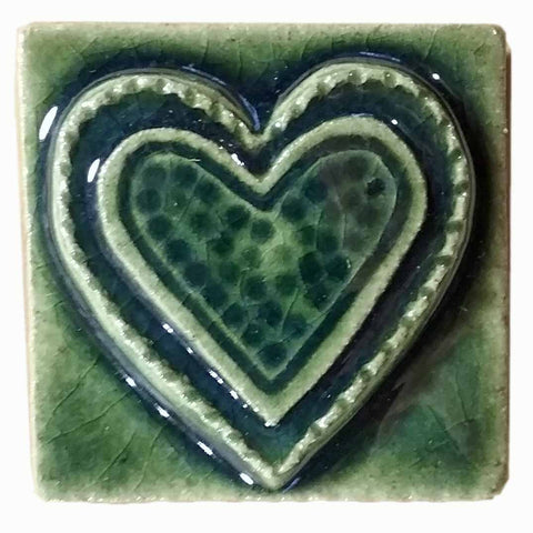 "Fancy Heart 2""x2"" Ceramic Handmade Tile - Leaf Green Glaze"
