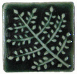 "Fern 2""x2"" Ceramic Handmade Tile - Leaf Green Glaze"