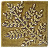 "Fern 4""x4"" Ceramic Handmade Tile - Honey Glaze"