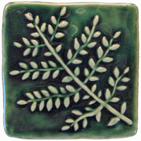 "Fern 4""x4"" Ceramic Handmade Tile - Leaf Green Glaze"