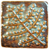 "Fern 2""x2"" Ceramic Handmade Tile - Autumn Glaze"
