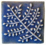 "Fern 2""x2"" Ceramic Handmade Tile - Watercolor Blue Glaze"