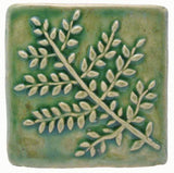 "Fern 4""x4"" Ceramic Handmade Tile - Spearmint Glaze"