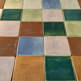 "Handmade Ceramic Field Tile 4""x4"" - multicolored grouping"