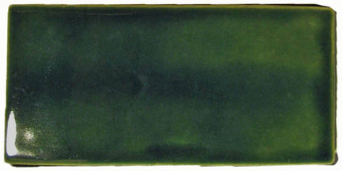 "Field Tile 3""x6"" Ceramic Handmade Tile - Leaf Green Glaze"