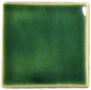 "2""x2"" Ceramic Handmade Field Tile - leaf green glaze"