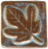 "Fig Leaf 2""x2"" Ceramic Handmade Tile - Autumn Glaze"