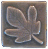 "Fig Leaf 2""x2"" Ceramic Handmade Tile - Gray Glaze"