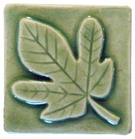 "Fig Leaf 2""x2"" Ceramic Handmade Tile - Spearmint Glaze"