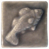"Fish 2""x2"" Ceramic Handmade Tile - Gray Glaze"