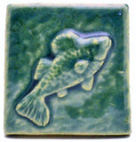 "Fish 2""x2"" Ceramic Handmade Tile - Leaf Green Glaze"