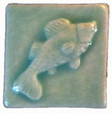 "Fish 2""x2"" Ceramic Handmade Tile - Pacific Blue Glaze"