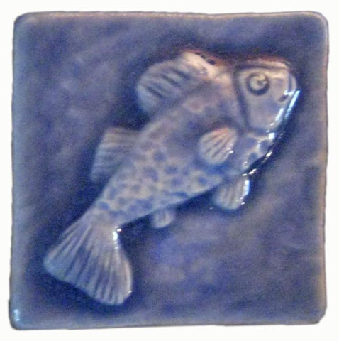 "Fish 2""x2"" Ceramic Handmade Tile - Watercolor Blue Glaze"