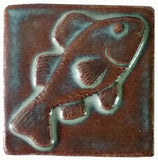 "Fish 3""x3"" Ceramic Handmade Tile - autumn glaze"