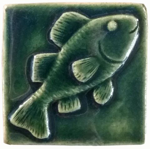 "Fish 3""x3"" Ceramic Handmade Tile - leaf green glaze"