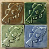 "Fish 3""x3"" Ceramic Handmade Tile - multi glaze grouping"
