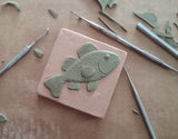 "Fish 3""x3"" Ceramic Handmade Tile - sculpting process"
